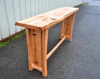 Live Edge Red Oak Bar Table