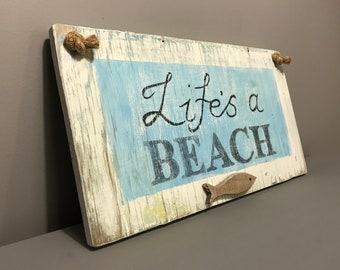 Hand painted wooden hanging sign