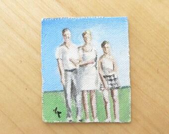 dollhouse miniatures- Unfraimed mini paintings, Original Miniature Painting, Miniature Family Painting, Raw Small Painting, miniature art