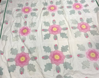 Vintage Quilt - Applique Quilt - Antique Quilt - Summer Quilt - Vintage Bedspread