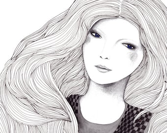 Modern Fashion Illustration Portrait of a Beautiful Woman, Art Archival Print Poster, Long Wavy Hair, Red Cheeks, Fairytale Story Rapunzel