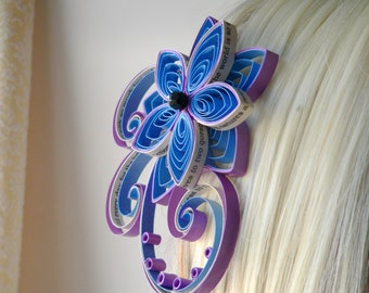 TLCs Four Weddings Personalized Wedding Hair Accessory, Hair Adornment, Blue and Purple Bridal Fascinator