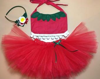 strawberry,strawberry costume,halloween costume,halloween,handmade,croptop,smash cake,babygirl,first birthday,tutu,costume, birthday outfit
