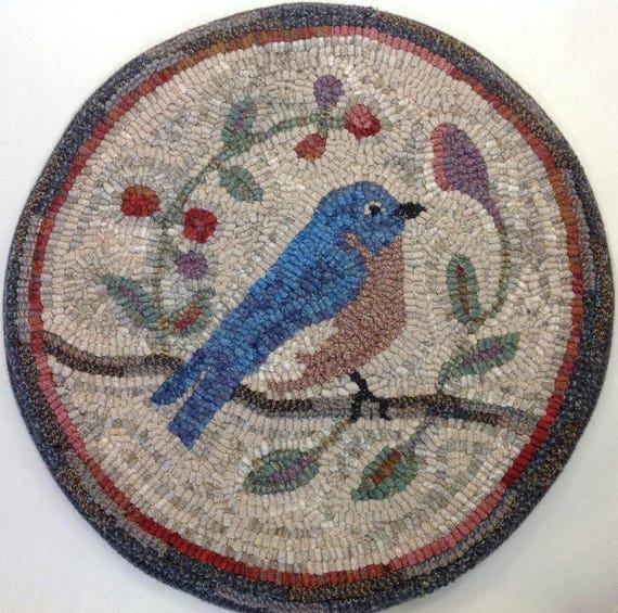 "Rug Hooking PATTERN, Bluebird Chair Pad or Table Mat, 14"" Round, P121, Primitive Bluebird Design"