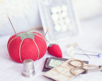 Vintage Sewing Photography - Pin Cushion Photography - Vintage - Whimsical Photograph - Fine Art Photography Print - Pastel Home Decor
