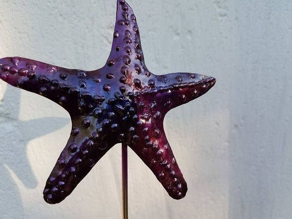 "Electric purple starfish, garden stake, outdoor finish, 18"" tall"