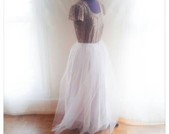 Chiffon covered with tulle skirt