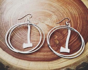 hoop earrings   silver axe earrings   ax jewelry axe jewelry   portland timbers   portland oregon