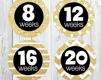 Maternity Stickers Gold Glitter, Preppy, Trendy, Glitter Pregnancy Stickers, Weekly Pregnancy Stickers, Baby Bump, Belly Bump, Gold Black