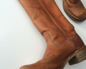 RESERVED Women's Frye inspired boots size 8M campus boots rugged biker riding boots USA caramel cowboy boots