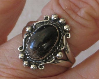 SALE Size 8 Brown Jasper and Sterling Silver Ring