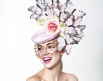 Blush Pink Butterflies headpiece, Butterflies fascinator, Kentucky derby hat, Oaks derby hat.