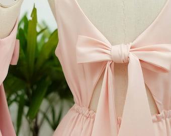 Pink Bridesmaid dress blush pink prom dress pink satin party dress short bridesmaid dress pink prom dress short wedding guest dress
