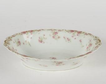 """Haviland Limoges France pink asters 10"""" oval serving dish bowl Schleiger 262B"""