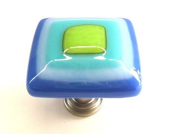 Art Glass Cabinet Knob in Electric Royal Blue, Turquoise, and Lime