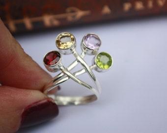 CLEARANCE Sale Garnet Citrine Amethyst Peridot Sterling Silver Crown Ring Semi-Precious Gemstone Size US 8 UK P/Q - Ref - J036