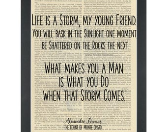 Literary quote Count of Monte Cristo Life is a storm Dictionary Art Print