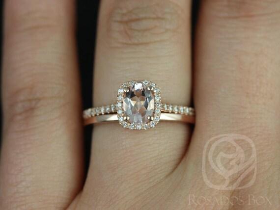Rosados Box Romani 7x5mm & Plain Romani 14kt Rose Gold Morganite and Diamonds Cushion Halo Wedding Set