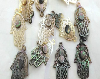 6pcs Large  Natural Mop Shell Hand Hamsa Beads 15x30mm Pendants  Tree  Carved  Connetor Pendant  Pearl Shell Jewelry