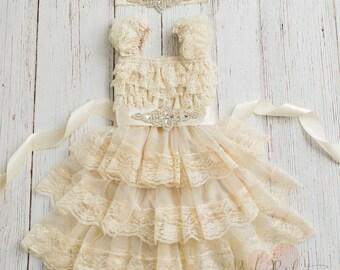 Lace flower girl dress, rustic flower girl dress,country flower girl dress, baby dress, ivory lace dress,Girls dresses,vintage flower girl