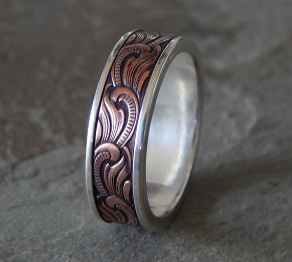 Paisley Silver Amp Copper Men S Wedding Ring