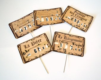 set of 5 price tags, posters, cheese