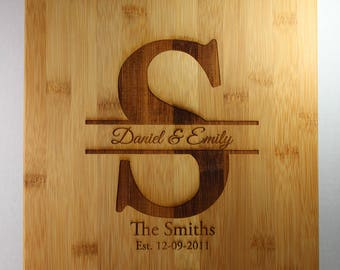 Monogram personalized bamboo cutting board for wedding gift, house warming, bridal shower