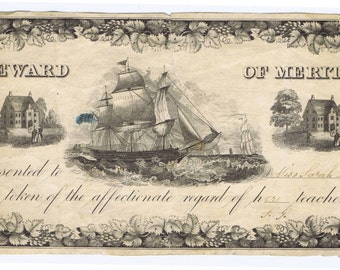 Antique 19th century American Reward of Merit Ship Design Lithograph Engraved School Education Paper Ephemera