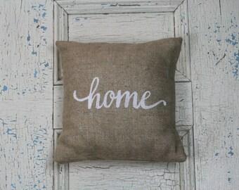 Home Pillow, Burlap Pillow, Rustic Decor, Decorative Pillow