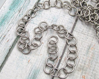 Stainless Steel Chain - 5 foot package- 10mm cable chain - Stainless Steel by the foot- Stainless Steel Bulk Chain - Bracelet Chain (115)