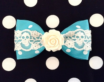 Vintage Rose Skull and Dots Hair Bow - Turquoise - White Lace - White Rose - Rockabilly