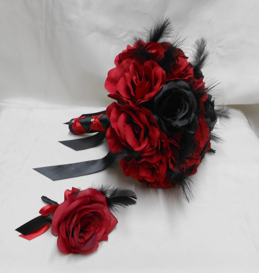 Black Wedding Flowers: Wedding Bridal Bouquet Your Colors 2 Piece Red Black Rose