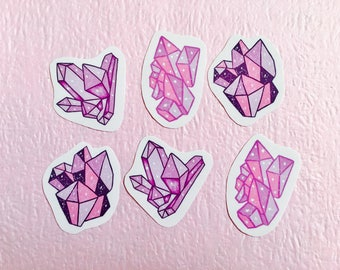 Rose quartz planner crystals, crystal sticker pack, Hobonichi crystal stickers, witchy sticker pack, Midori sticker pack, witchy crystals