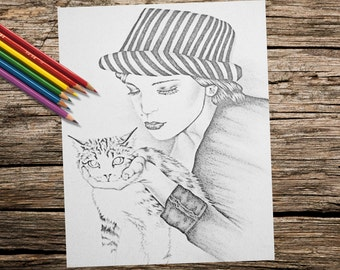 Printable coloring page, Adult Coloring Page, coloring book for adults, Instant download coloring, Cat coloring page, coloring for adult