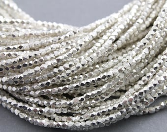 Karen Hill Tribe Silver Beads, Thai Hill Tribe Silver Beads, Thai Silver Beads, 1 mm x 1 mm, 13 inch Strand/250 Beads  (HT1.0x1.0 (26))