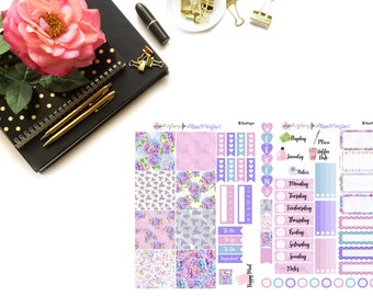Hydrangea Kit// MINI HP Weekly Kit// 2 sheets of planner stickers