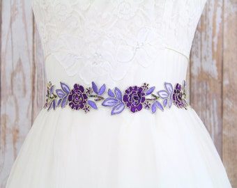 Purple and Lavender  Embroidery Flower Lace Sash , Bridal Purple Sash, Purple Head Tie, Purple Lace Sash Belt