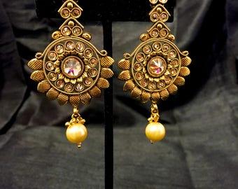 Indian Jewelry, Kundan Pearl Earrings, Indian Earrings, Indian Wedding Jewelry, Kundan Earrings Jewellery, Rajasthani, Bollywood Earrings,