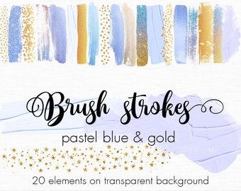 Pastel and Gold brush strokes clipart, Gold paint clipart, Pastel paint clip art, Design elements, Metallic clipart, Paint splatters