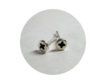 Tiny SILVER Phillips SCREW Earrings. 4mm Tiny Sterling Silver STUDS. Sterling Silver Hardware Jewelry. Phillips Screw Studs for Men or Women