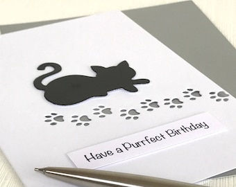 Cat Purrfect Birthday Card - A Handcrafted Cat Birthday Card Perfect for a Cat Lover or Crazy Cat Lady!