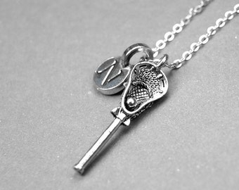 Lacrosse Necklace, Lacrosse stick charm, personalized jewelry, initial necklace, monogram, initial jewelry, antiqued, silver pewter pewter