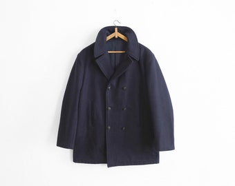 1960/1970s Navy Wool Pea Coat - Made in France - Mens Size M/L