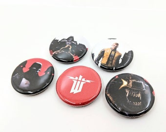 """5 Pack 1.25"""" Wolfenstein Pin-back Buttons or Magnets with Terror Billy, Nazi Soldiers, and Insignias"""
