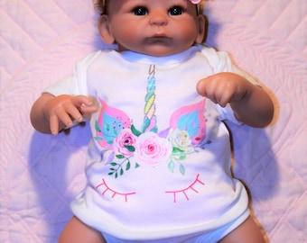 Newborn baby unicorn bodysuit, Unicorn headband, baby girl unicorn headband, floral unicorn crown,baby shower gift, baby girl gift