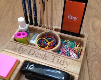 Desk tidy - Stationery storage tray in solid oak - Can be personalised