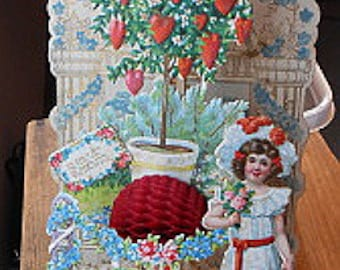 Antique German Valentine - 3 layers Foldout