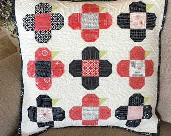 PAPER Pattern:  Perky Posies (Charm Pack Pillow)
