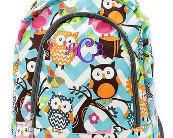 Monogrammed Backpack Personalized Aqua Owl Gray Backpack Personalized Backpack Kids Backpack Girls Backpack Boys Backpack
