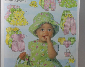 Butterick 5624, Infants' Dress, Jumper, Romper, Jumpsuit, Panties, Pants, Hat and Bag Sewing Pattern, Size Lrg - XLg, New/Uncut